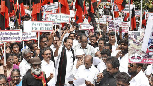 Vaiko detained during protest against draft US resolution