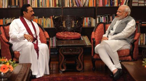What did Mahinda Rajapaksa discuss with Indian PM Narendra Modi?