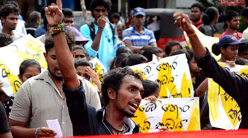 South-East University students protest in Colombo