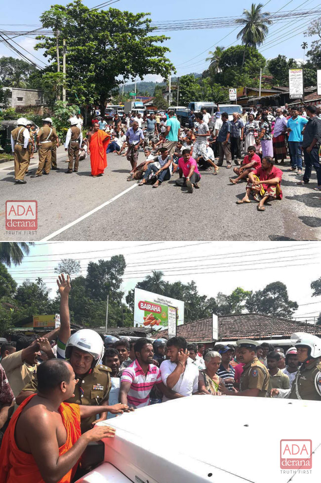 Protesters block Colombo-Kandy road...