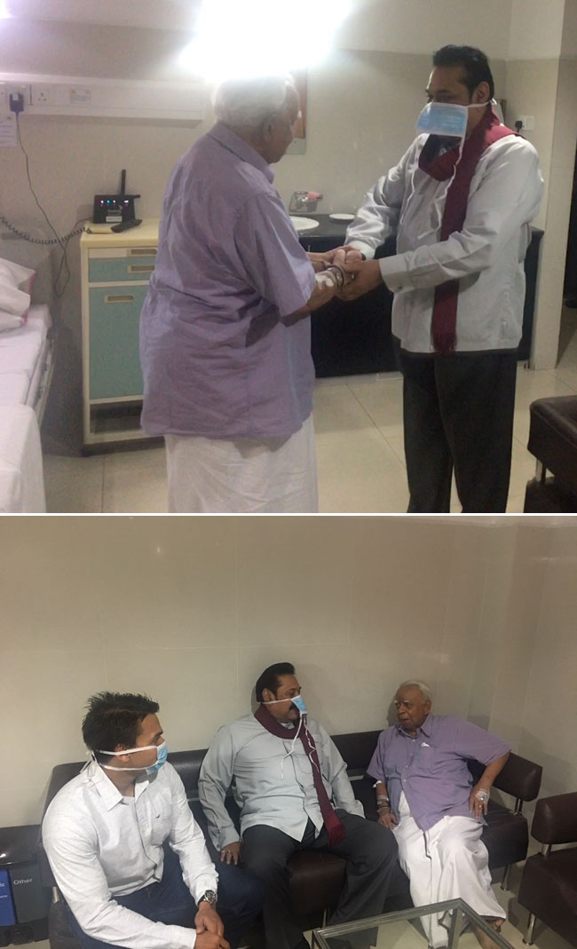 Mahinda and Namal visit Sampanthan at hospital
