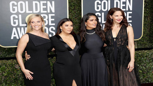 Stars wearing black on Golden Globe red carpet