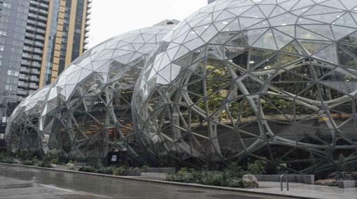 Amazon reveals mini rainforest work space spheres