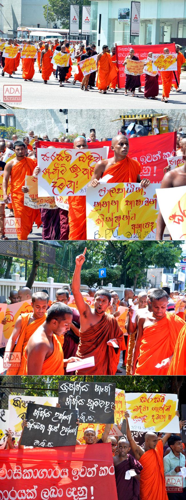 Student bhikkhus protest...