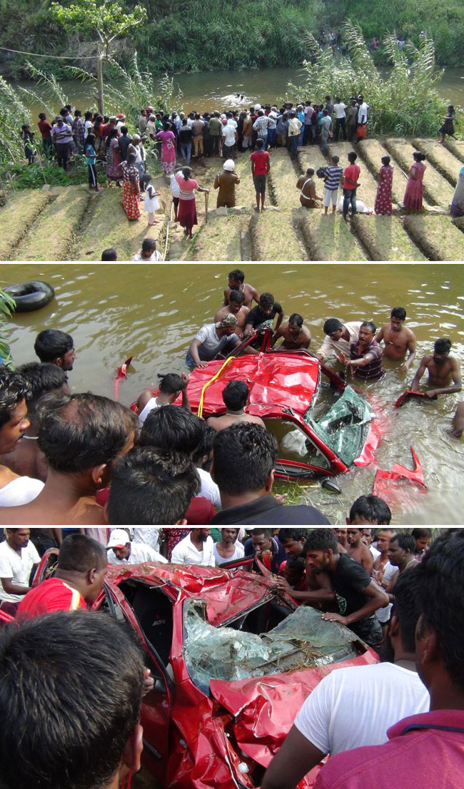 Car topples into Kotmale reservoir; one body recovered
