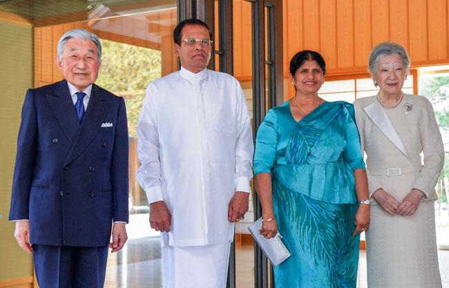President Sirisena calls on Japan's Emperor Akihito
