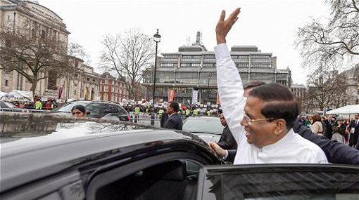 President Sirisena arrives in London for CHOGM