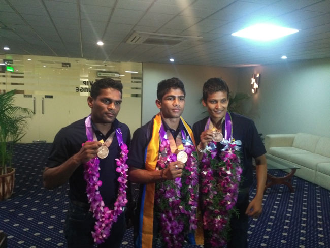 Sri Lankan medal winning boxers return