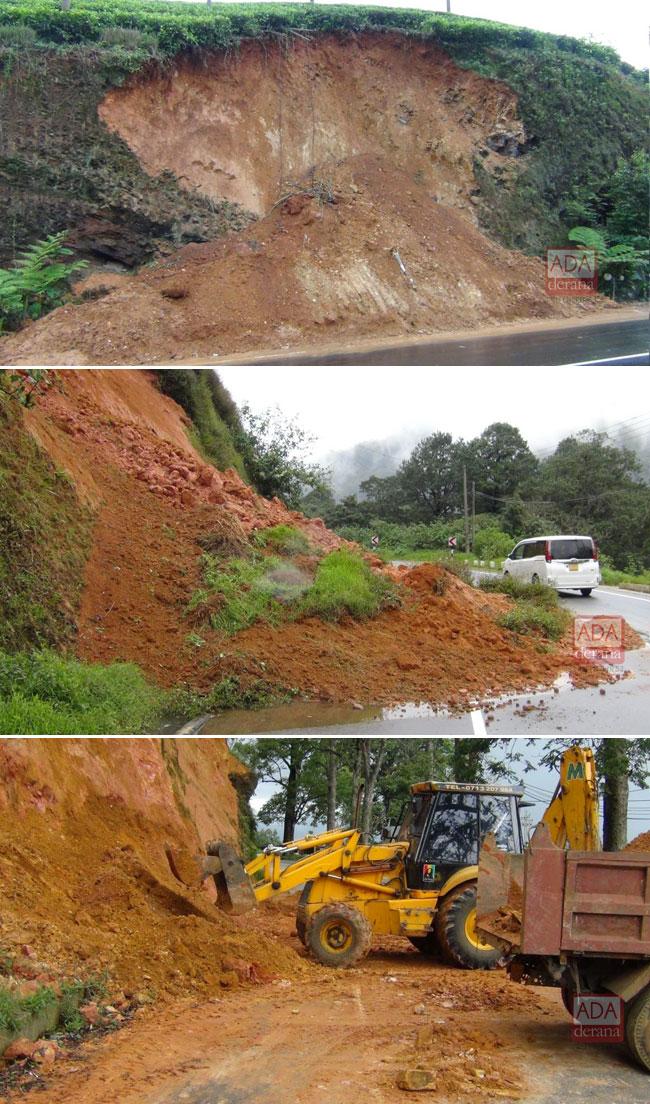 Traffic restricted to one lane on Hatton-Nuwara Eliya main road