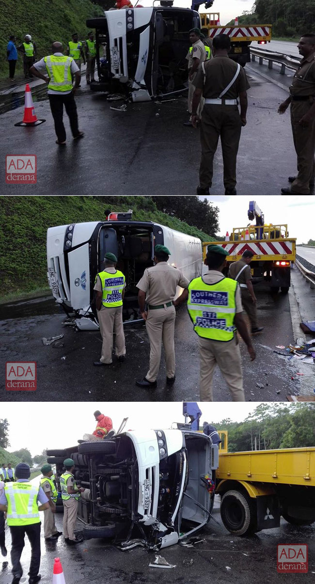 Five injured after bus topples on Southern Expressway