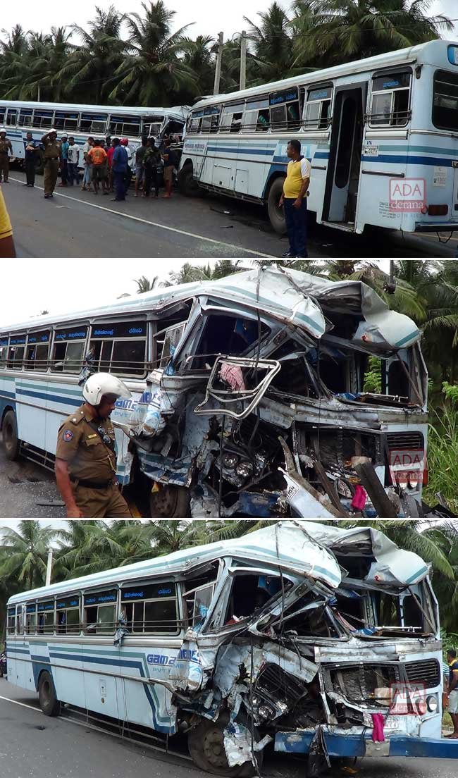 Two buses collide in Melsiripura; nearly 60 hospitalized