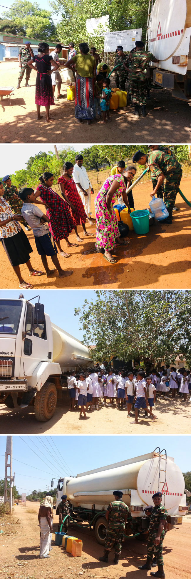 Army distributes drinking water to drought-hit people in Kilinochchi