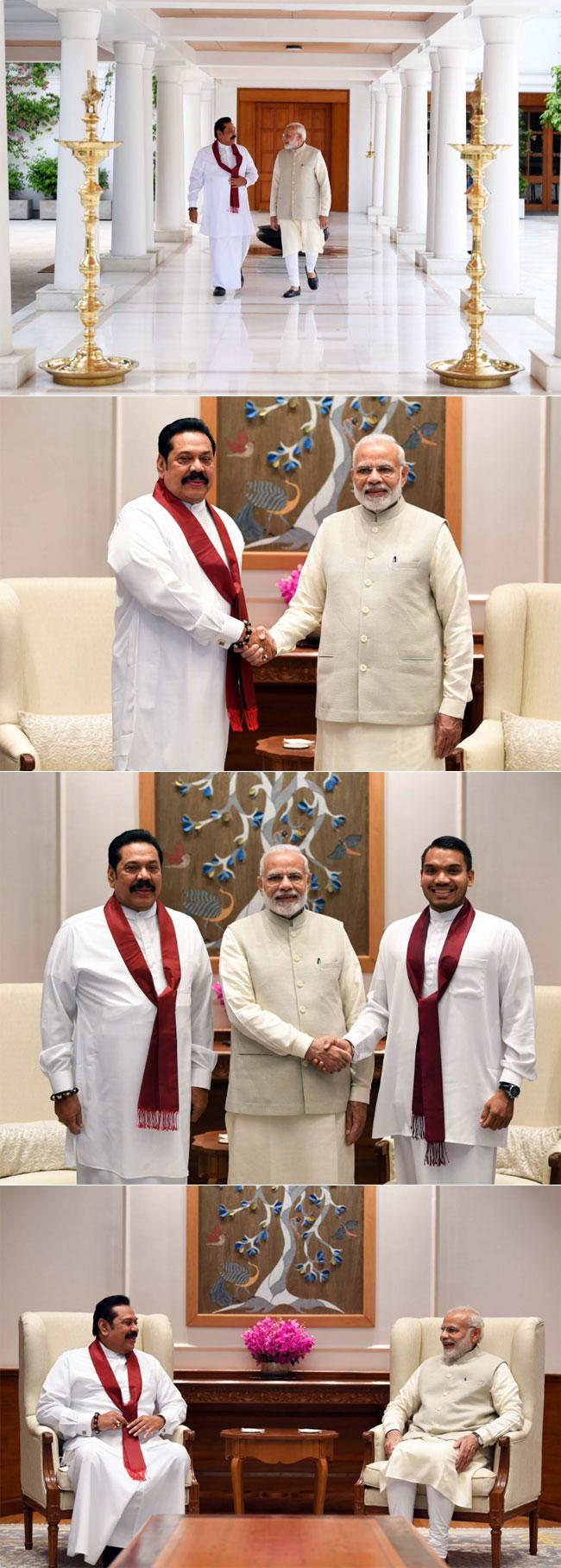 Mahinda Rajapaksa calls on Narendra Modi