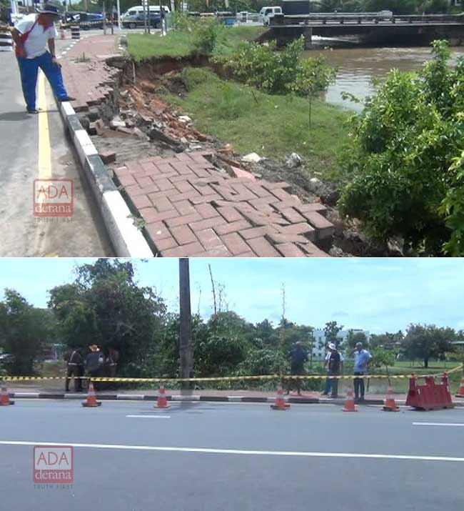 Road near Parliament sinks in; motorists to use detours