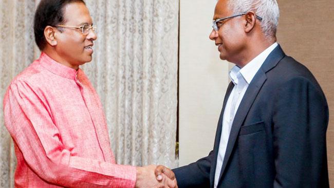 President Sirisena meets new Maldivian President