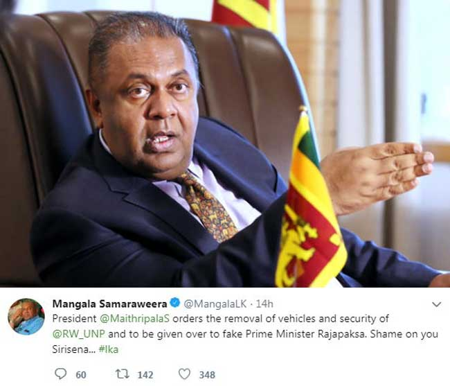 Mangala calls out on President over twitter