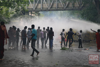 Tear gas, water cannon fired at protesting students...