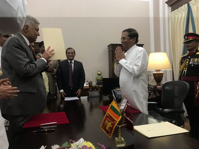 Ranil Wickremesinghe sworn in as Prime Minister