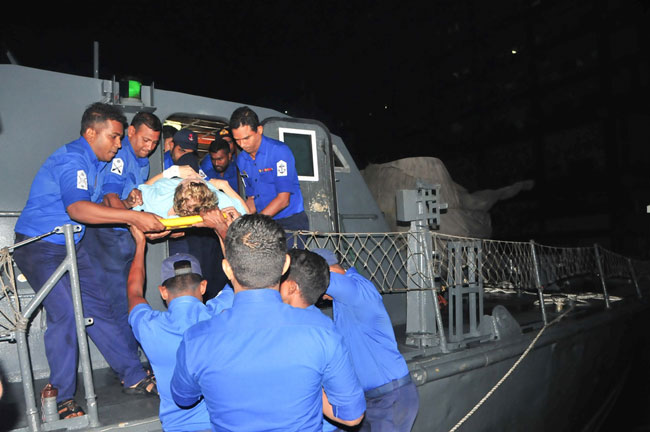 Navy helps transfer foreign patient ashore for treatment