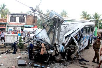Bus hits transformer…