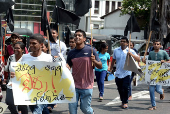 Protest by inter-university students...