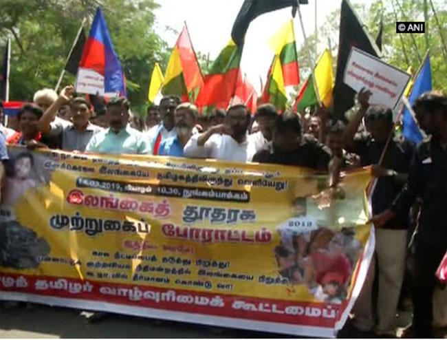 Protest near Sri Lankan High Commission in Chennai