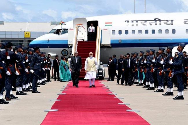 Modi arrives in Sri Lanka...