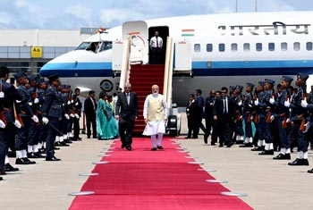 Modi arrives in Sri Lanka...