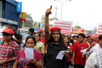 JVP protests against government...