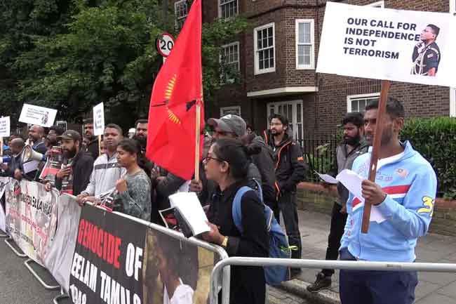 Pro-LTTE group protest during Sri Lanka-Australia WC match