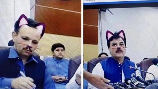 Accidental cat filter derails Pakistani political press conference