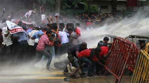 Police fire tear gas at protesting students