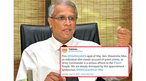 "Appointing Shavendra Silva as new Army Chief, a ""serious affront"" to Tamils - Sumanthiran"