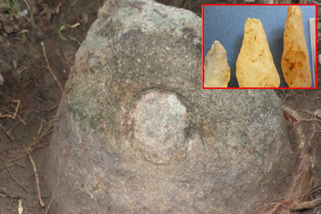 Stone weapons used by prehistoric man found from Mankulam
