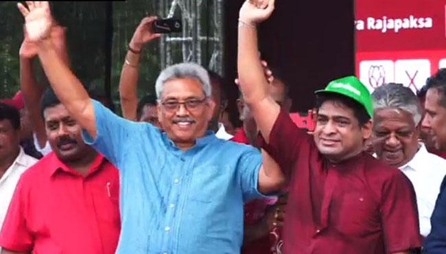 Wasantha joins Gotabaya on stage