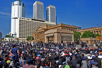 Protests staged in Colombo...