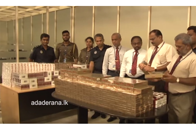 Four Lankan passengers nabbed with foreign cigarettes worth millions