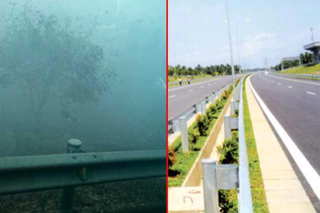 Katunayake highway closed off due to spreading smoke