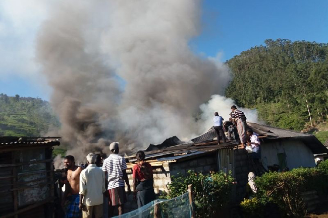Six estate houses gutted in fire at Dayagama East