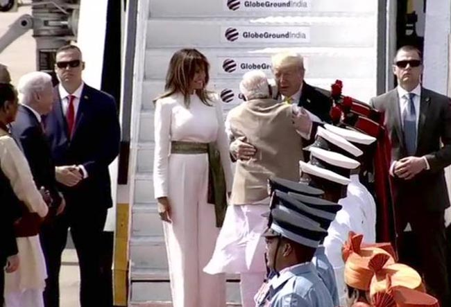 Trump begins official India visit with a warm hug from PM Modi