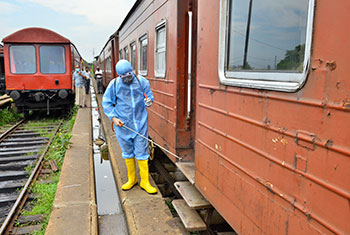 Disinfecting trains...