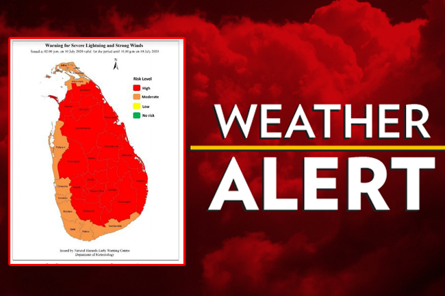 Warning issued for severe lightning and strong winds