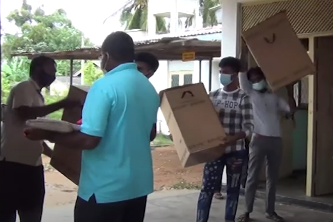 Delivering ballot boxes to polling stations underway