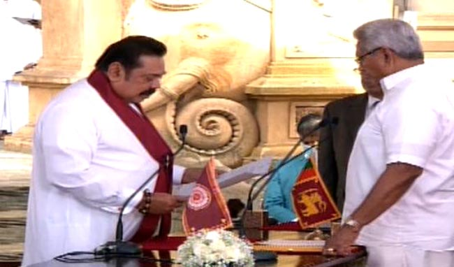 Mahinda Rajapaksa takes oath as new Prime Minister