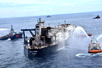 Fire on oil tanker completely doused…