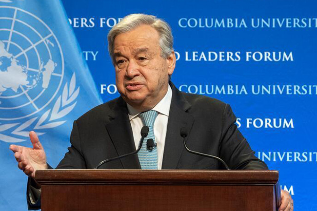 UN chief calls on humankind to end 'war on nature'