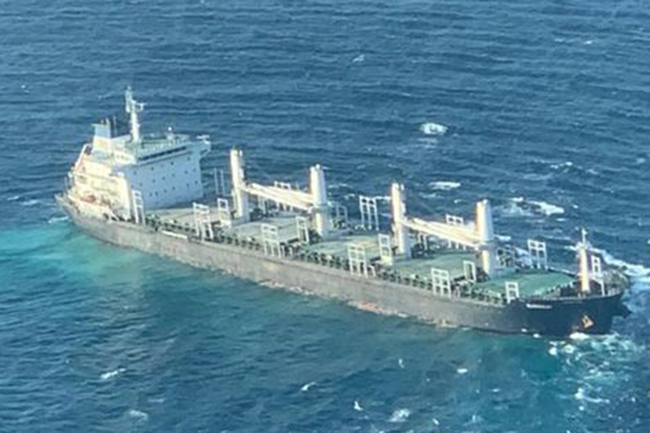 Cargo ship distressed near Little Basses Reef