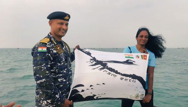 Woman swims from Sri Lanka to India across Palk Strait