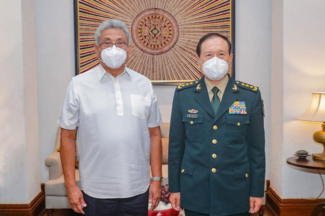 Chinese Defence Minister and President Rajapaksa hold talks
