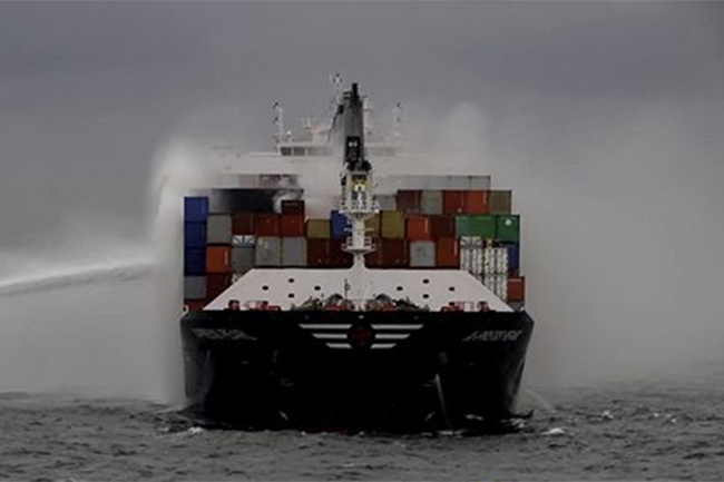 MEPA team looks into damages caused by fire erupted in vessel off Colombo
